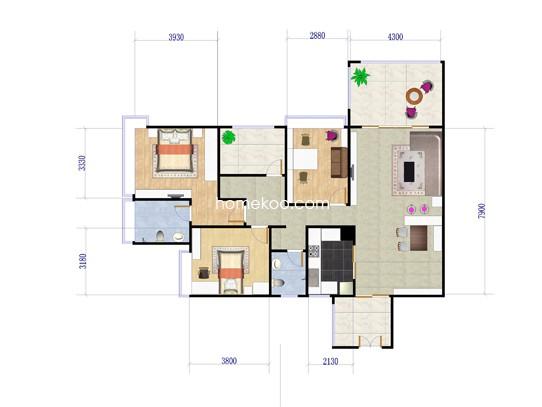 6栋A座05户型三房二厅二卫 134.03�O