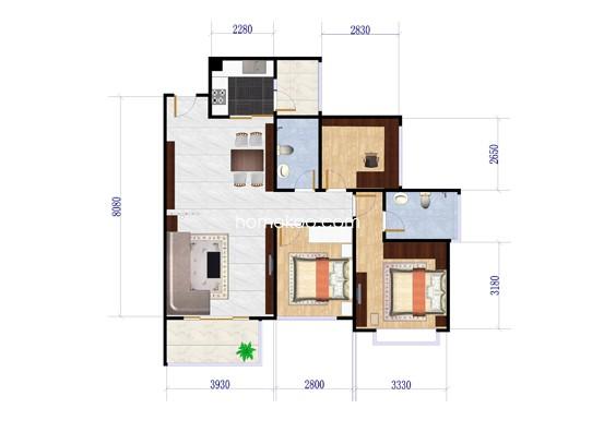 三房二厅二卫 89�O