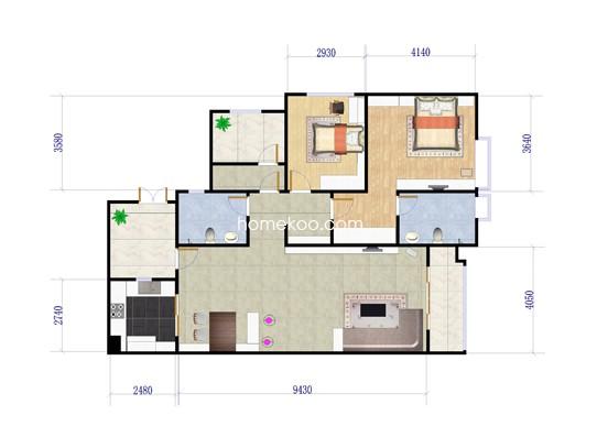 L户型三室两厅双卫 134�O
