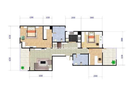 S2户型三房两厅两卫一厨 139�O