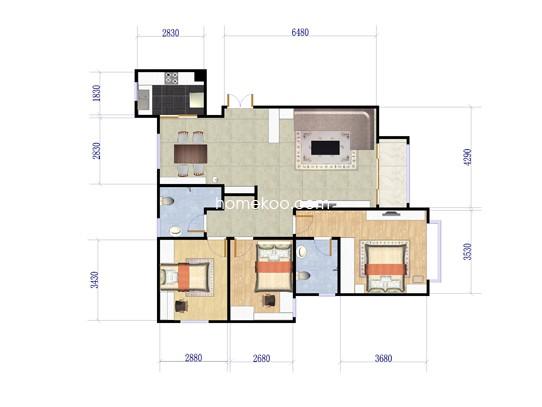 B户型3室2厅1卫 90�O