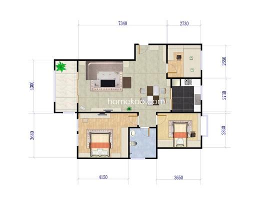 A2、3室2厅1卫1厨 108�O
