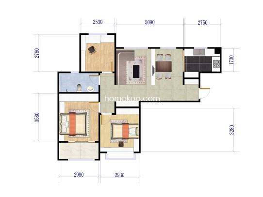 三房两厅一厨一卫 122�O