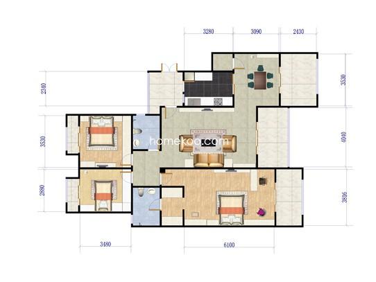 C户型三房两厅 139.20�O