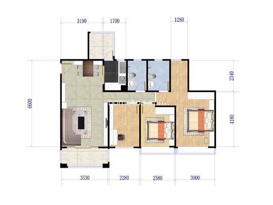 8座01户型3室2厅2卫1厨 110.83�O