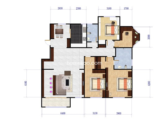 一期3号楼4室2厅2卫 183�O