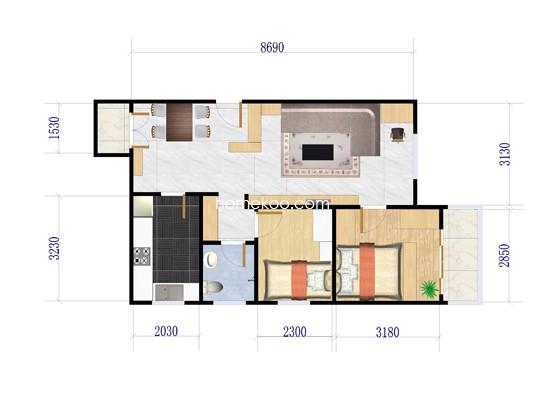 4号楼两房两厅一厨一卫型 85�O