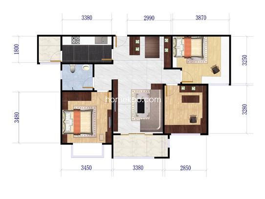 A户型3房2厅1卫 95�O