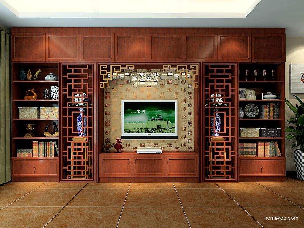 古典中式客厅电视墙