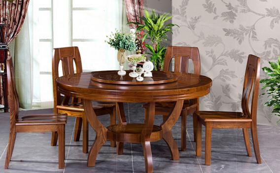 实木可伸缩餐桌