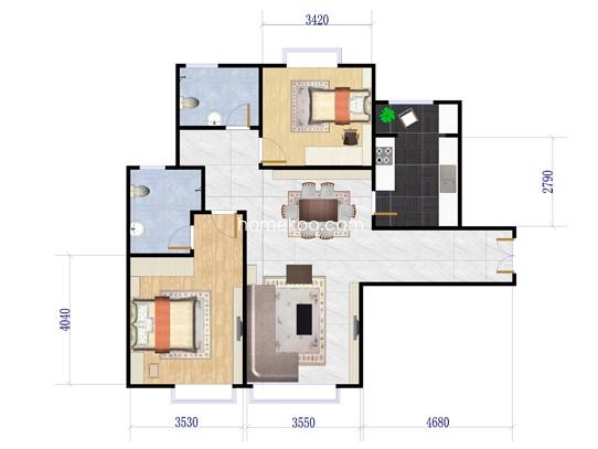 3栋2单元户型两房两厅 110�O