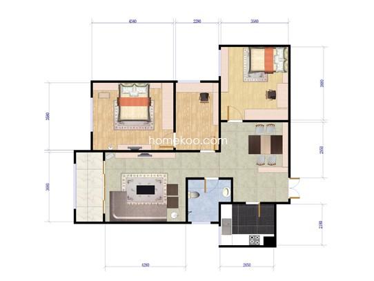 2A三房两厅一卫 107�O