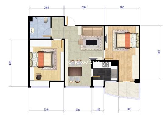 H户型两房两厅一卫 68�O