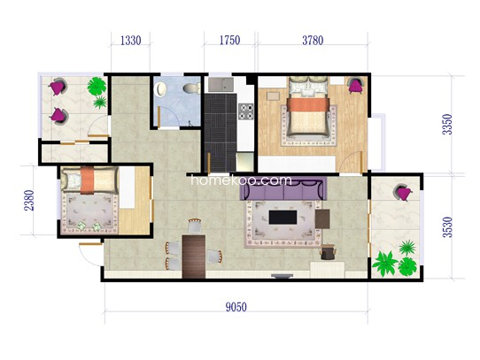 11号楼F户型2室2厅1卫 96�O