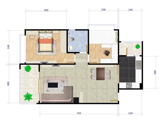 两房两厅一卫  85�O