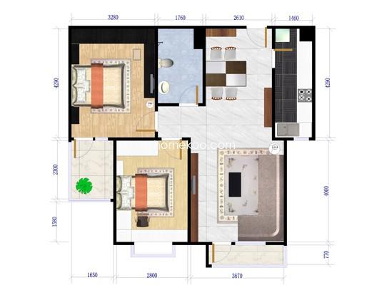 9号楼2单元两房两厅 80�O