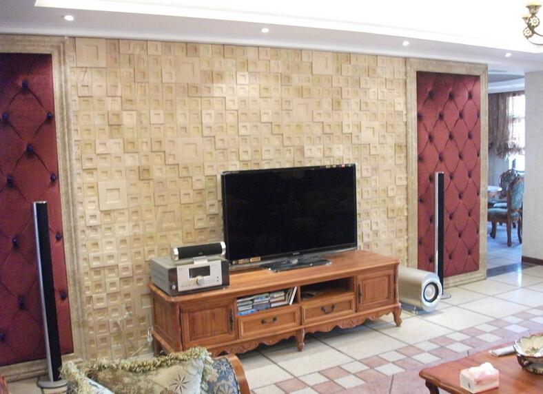 人造砂岩电视背景墙的外观效果