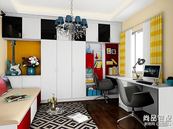 双人电脑桌书柜设计优点分享