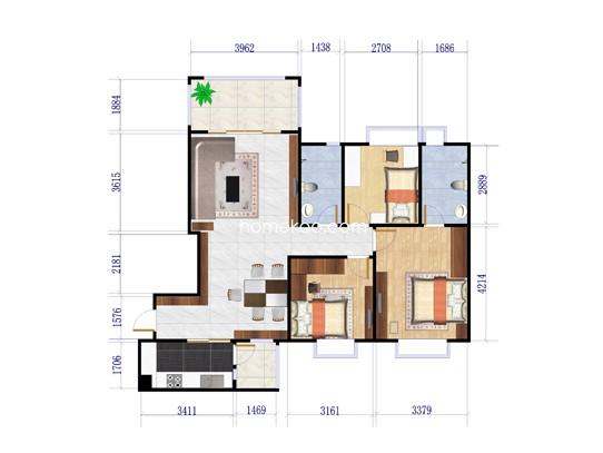 7号楼J525-B户型3室2厅2卫1厨 116�O