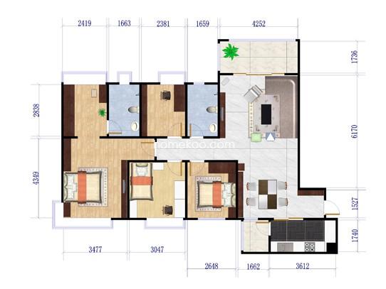 7号楼J525-C户型4室2厅2卫1厨 141�O