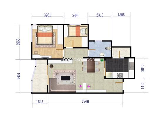 2室2厅1卫1厨 74�O