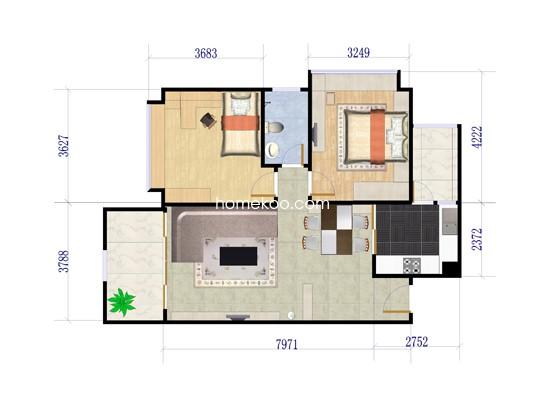 1期9栋2室2厅1卫1厨 81�O