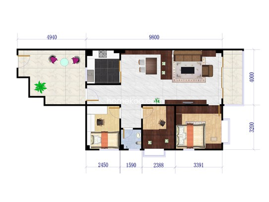 3室2厅2卫1厨 99�O
