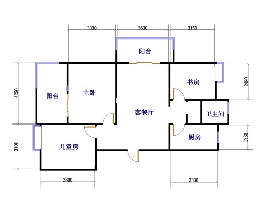 四期A1户型图3室2厅1卫1厨 115�O