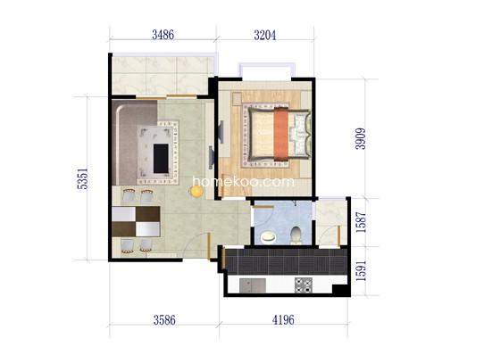 06户型图1室2厅1卫1厨 58.07�O