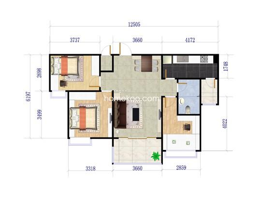 2期J473户型3室2厅1卫1厨 88�O