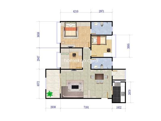 B1、B3栋04户型2室2厅1卫1厨 82�O