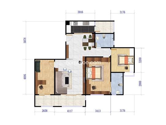 G3栋01单元3室 120.49�O