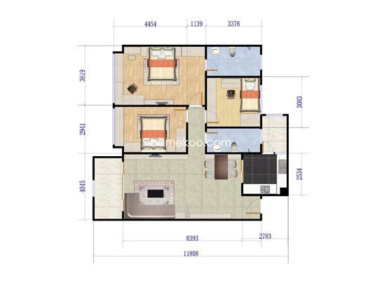 1期10栋3室2厅2卫1厨 115�O