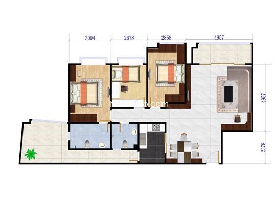 G3栋03单元3室2厅2卫1厨 123�O