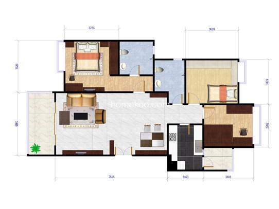 02号房图3室2厅2卫1厨 123.00�O