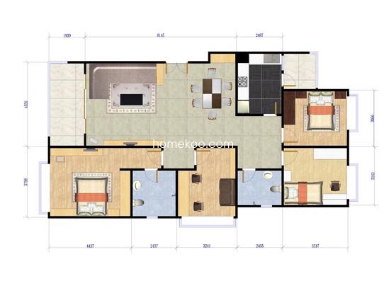 01号房图3室2厅2卫1厨 142.00�O