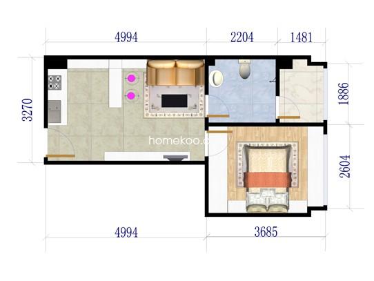 F户型1室42�O