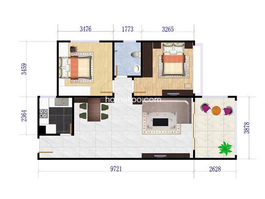B户型2室2厅1卫86.33�O
