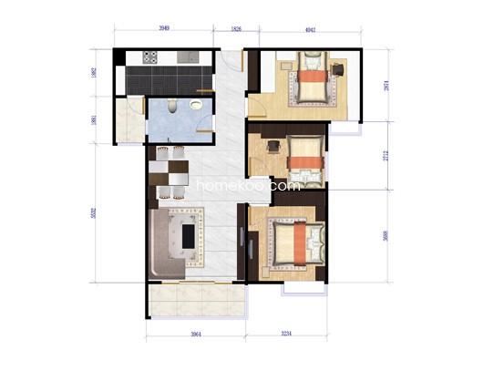 11、12栋3室两厅92�O