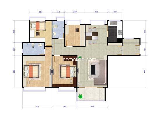 三期8-9栋4室2厅140�O