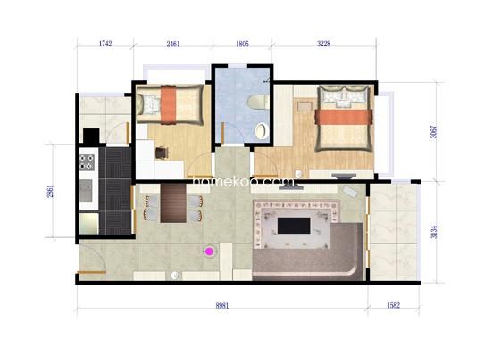 84栋-05户型面积71.00�O(2房)