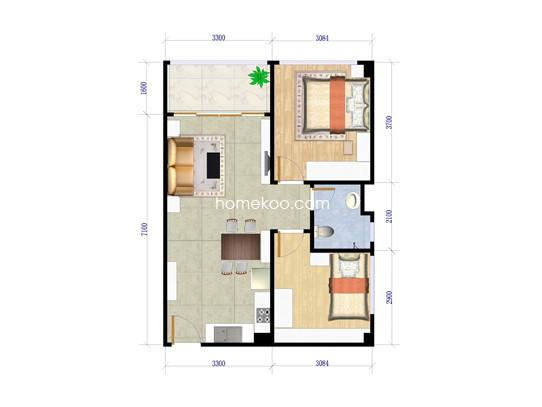 C户型 2室两厅