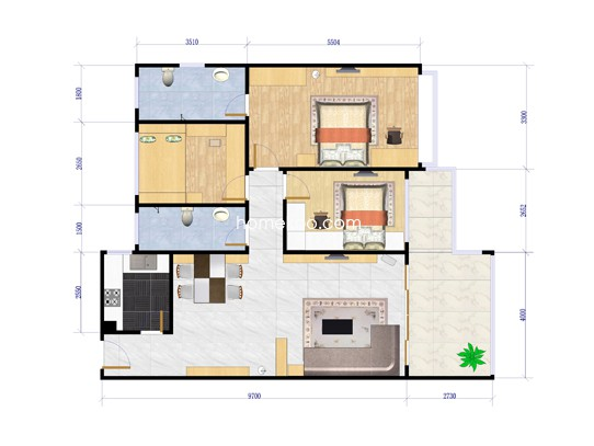 A户型3室2厅2卫115.94�O