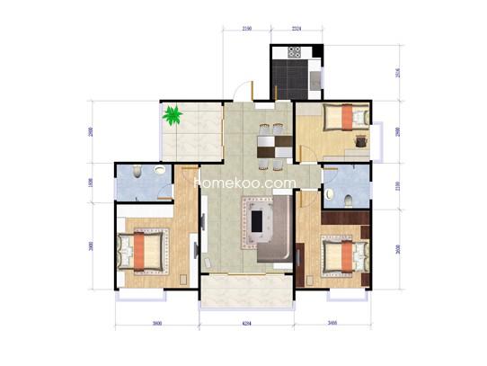 花园洋房2栋三房两厅119.52�O