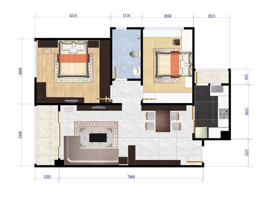 C4栋02户型两房两厅84.40�O