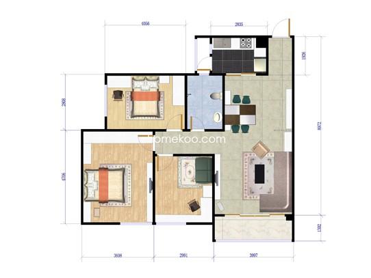 C7栋02三房两厅98.81