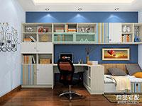 儿童转角书柜效果图 儿童书桌书柜效果图