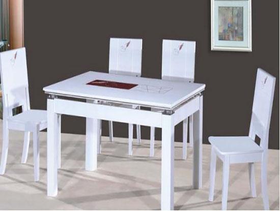 客餐厅白色大理石餐桌图片