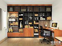 书房电脑桌带书柜设计图