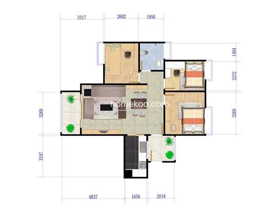 1栋A户型3室2厅1卫 97�O